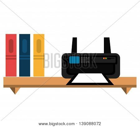 office bookcase with printer  isolated icon design, vector illustration  graphic