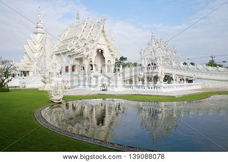 Wat Rong Khun (White temple) in the vicinity of Chiang Mai in the early morning. Northern Thailand