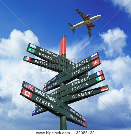 Road sign with flags and countries on Cloudy and sunny sky time for vacations