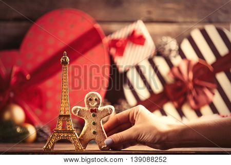 Eiffel Tower Shaped Toy And Gingerbread Man