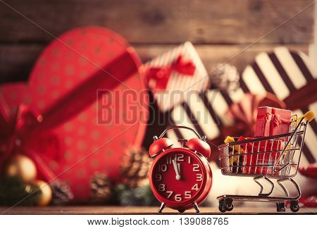 Cart With Gifts And Alarm Clock