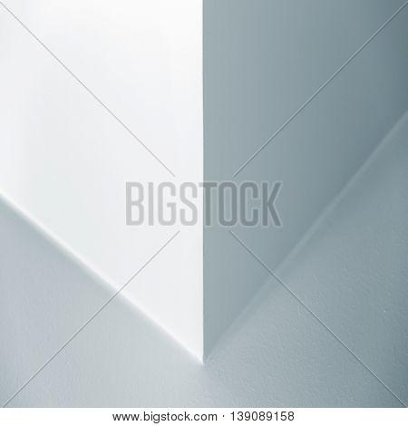 White Interior Fragment With Corner, Blue Toned