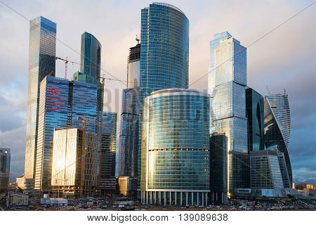 MOSCOW, RUSSIA - APRIL 14, 2015: High-rise buildings of the business center