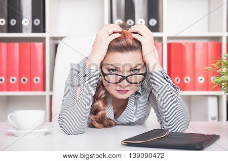 Tired Beautiful Business Woman Working In Office