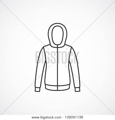 Hooded jacket icon. Vector line minimal icon.