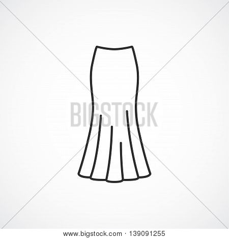 fit and flare skirt icon. Vector line minimal icon.
