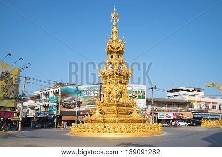 CHIANG RAI, THAILAND - JANUARY 13, 2014: The clock tower on the city square in Chiang Rai. Tourist landmark