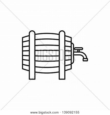 Wooden barrel with tap icon in outline style isolated vector illustration
