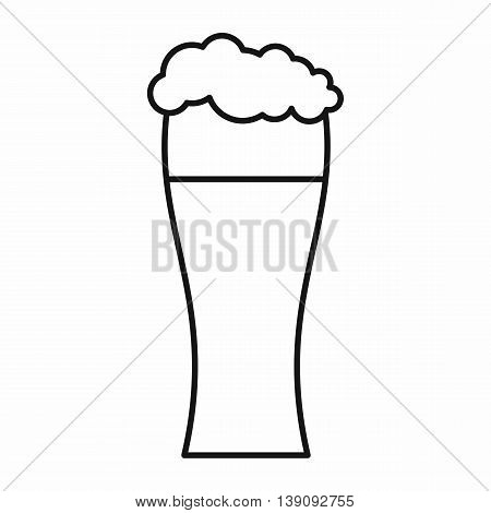 Glass of beer icon in outline style isolated vector illustration