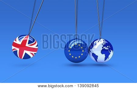 Brexit global business consequences concept with Union Jack EU flag on balls and world map globe 3D illustration.