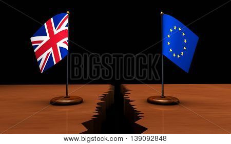 Brexit concept with Union Jack and EU flag separated on a broken desk 3D illustration.