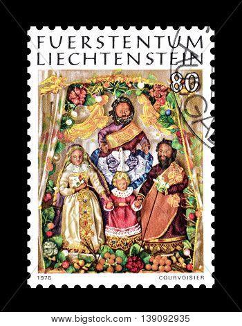 LIECHTENSTEIN - CIRCA 1976 : Cancelled postage stamp printed by Liechtenstein, that shows wax figures.
