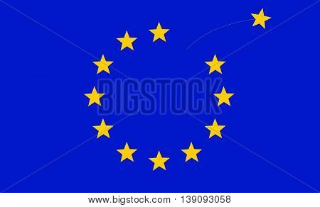 A Star Disappears from European Flag as Great Britain Leaves the European Union / Brexit Concept