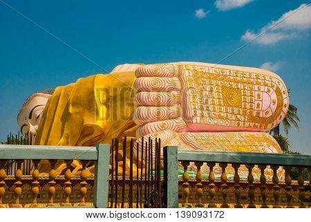 The Soles Of The Feet. Mya Tha Lyaung Reclining Buddha. Bago. Myanma. Burma.