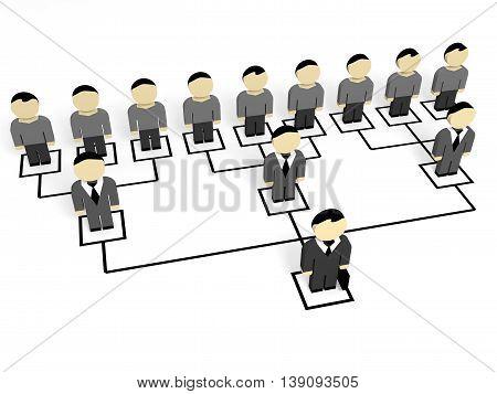 3D business people on white background. Leader. 3D illustration.