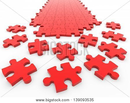 Disassembled puzzle on white background. Concept solution. 3D illustration.
