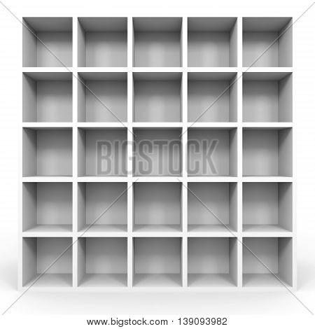 Empty Bookshelf On White.