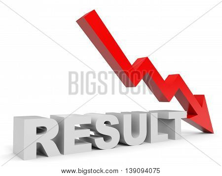 Graph down result arrow on white background. 3D illustration.