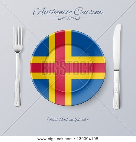 Authentic Cuisine of Aland Islands. Plate with Flag and Cutlery
