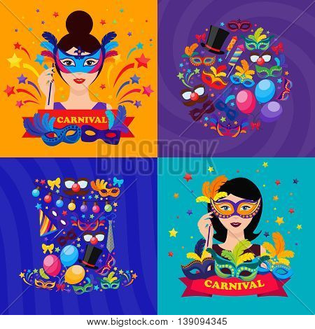 Ball carnival compositions with masked women firecrackers lights stars feather bow party hat ribbon isolated vector illustration