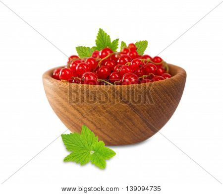 Ripe and tasty redcurrant isolated on white background.
