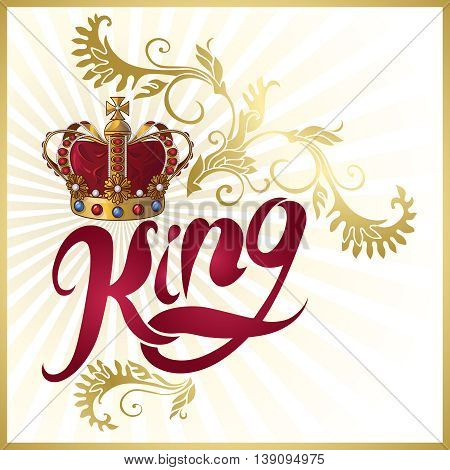 Attribute of king design with royal crown calligraphic title flourish golden ornament on white background vector illustration