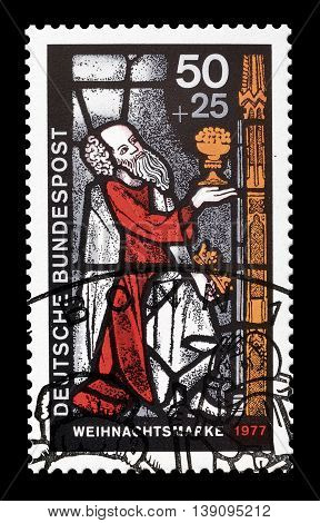 GERMANY - CIRCA 1977 : Cancelled postage stamp printed by Germany, that shows religious motive.