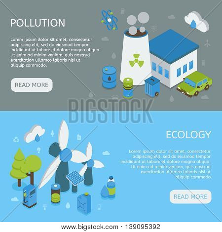 Ecology horizontal isometric banners with environmental pollution green energy on grey and blue backgrounds isolated vector illustration