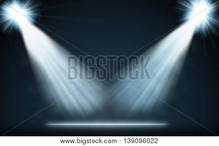 Stage blue spotlights blank background. 2D raster illustration.
