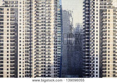 Windows of skyscraper buildings in Dubai, UAE