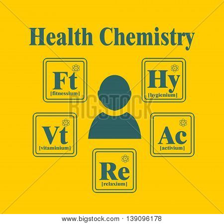 Health lifestyle model metaphor. Creative Vector Typography Poster Concept. Health chemistry. Fictional chemical elements around human icon.