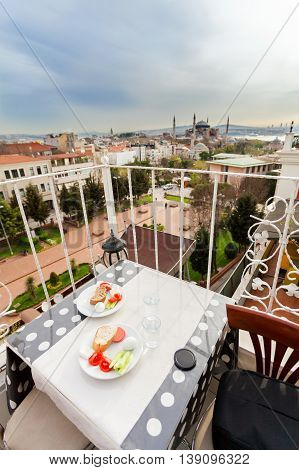Modest breakfast buffet with views of the Hagia Sophia on the terrace. Istanbul. Travel Turkey.