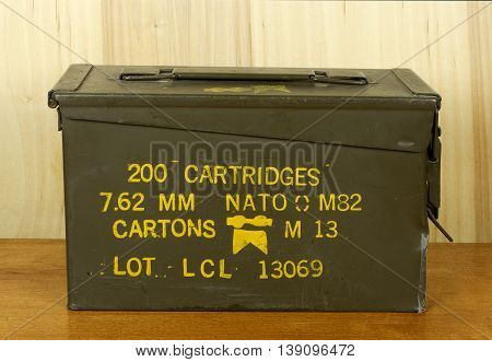 RIVER FALLS,WISCONSIN-JULY 19,2016: A vintage military issued ammo can for thirty caliber cartridges.