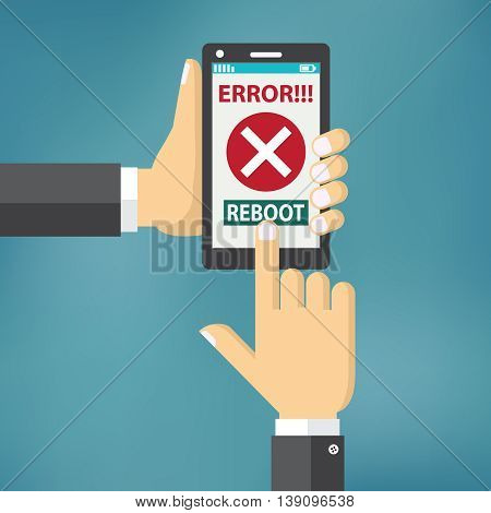 Hand hold smart phone with error on the screen and reboot button.