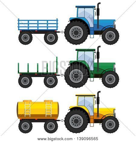 Set of farm tractors with wagons and cistern on the white background.