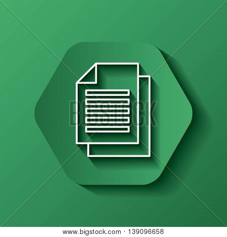 Media concept represented by white document icon. Colorfull and flat illustration. Hexagon shape