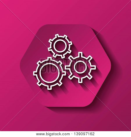 Machine part concept represented by white gear icon. Colorfull and flat illustration. Hexagon shape
