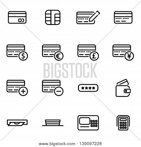 Vector line credit card icon set on white background