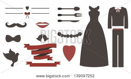 Set of wedding invitation vintage design elements, designers toolkit