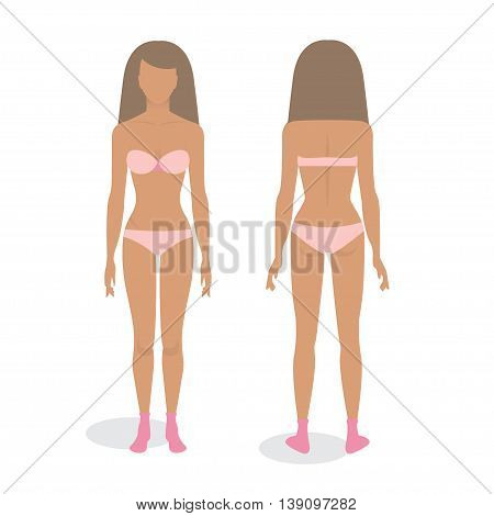 Young body of woman template, front and back.