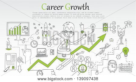 Career concept of thin line flat design banners for workflow, career, professional skill, human resources business process, education.