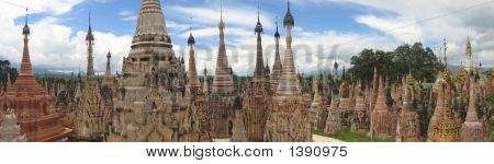 Sacred Buddhist Site Of Kakku, Inle Lake, Myanmar, Panorama