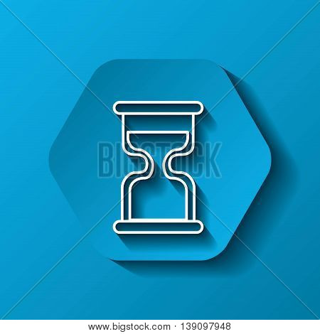 Time concept represented by white hourglass icon. Colorfull and flat illustration. Hexagon shape