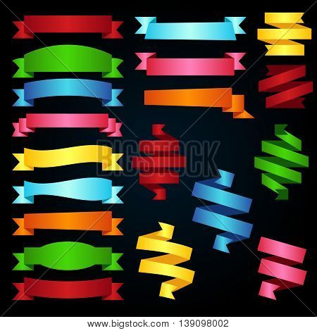Colorful ribbons big vector collection in different colors design elements