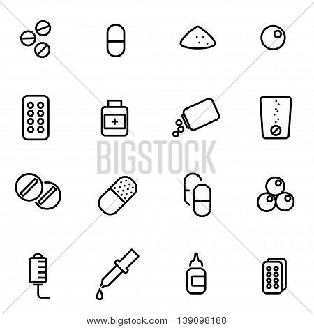 Vector line pills icon set on white background