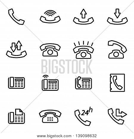 Vector line telephone icon set on white background