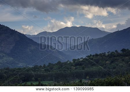 View of the Western Ghats from Marayoor village near Munnar, Kerala, India
