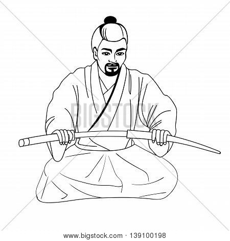 Vector illustration of a Japanese samurai sitting on his lap and holding a sword. Isolated white background. The concept of harakiri.