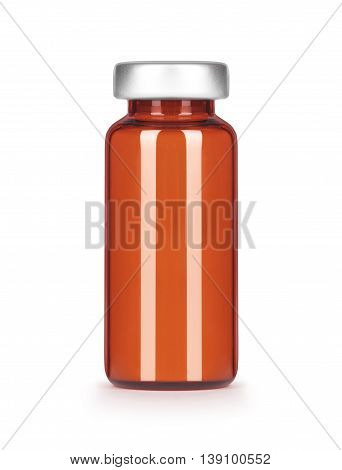 Brown blank glass medical bottle isolated on white background