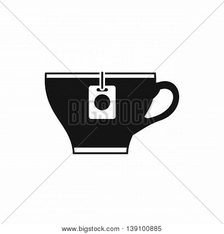 Cup with teabag icon in simple style isolated vector illustration